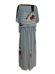 Vintage Michaele Vollbracht Blue and White Silk Maxi Skirt Set 1980s