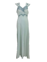 Vintage 1930s Blue Silk Hand Embroidered Cut Work Bias Cut Gown
