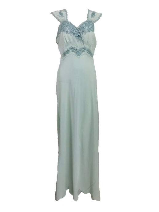 Vintage 1930s Blue Silk Embroidered Cut Work Bias Cut Gown