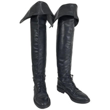 Chanel Over the knee black leather riding boots