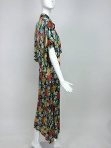 Vintage Floral Printed Silk Crepe Satin Evening or Beach Pajamas and Cape 1920s