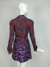 Purple brocade jacket & coordinating satin brocade mini skirt 1990s