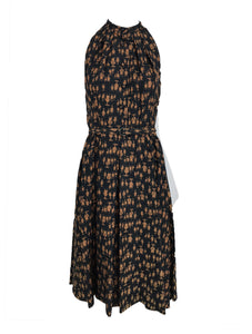 1950s Novelty People Print Dress in Brown and Black