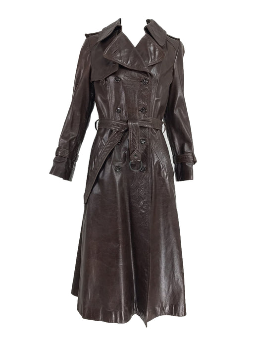 Anne Klein Chocolate brown leather trench coat 1970s