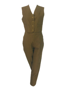 Vintage Romeo Gigli 2pc Olive khaki Vest and Trousers G Gigli 1990s
