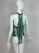 SOLD Emanuel Ungaro Aqua Floral Print Pleated Silk Butterfly Halter Top