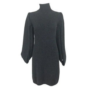 Chanel Charcoal Grey Cashmere Cage Sleeve Dress 2007a