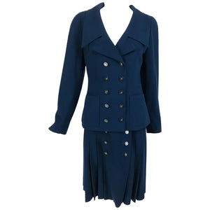 Chanel Navy Blue Double Breasted Jacket and Pleated skirt 1994P