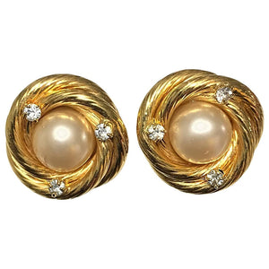 Chanel gold twist with pearl and diamante clip earrings 1995 A
