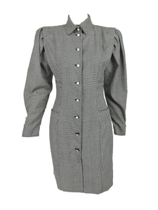 Ungaro Hounds Tooth Check Peaked Shoulder Fitted Button Up Dress 1980s