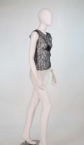 Chanel black Chantilly lace sleeveless top 2004A