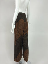 Carolina Herrera Silk Cocoa/Chocolate Print Wide Leg Trouser