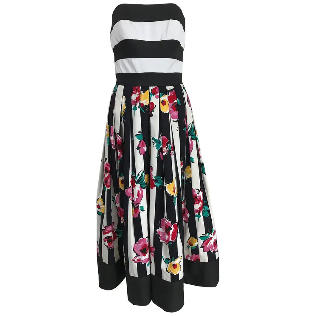 Victor Costa Strapless Black and White Stripe Floral Fit and Flare Dress