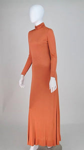 Christian Dior New York silk jersey maxi dress 1970s