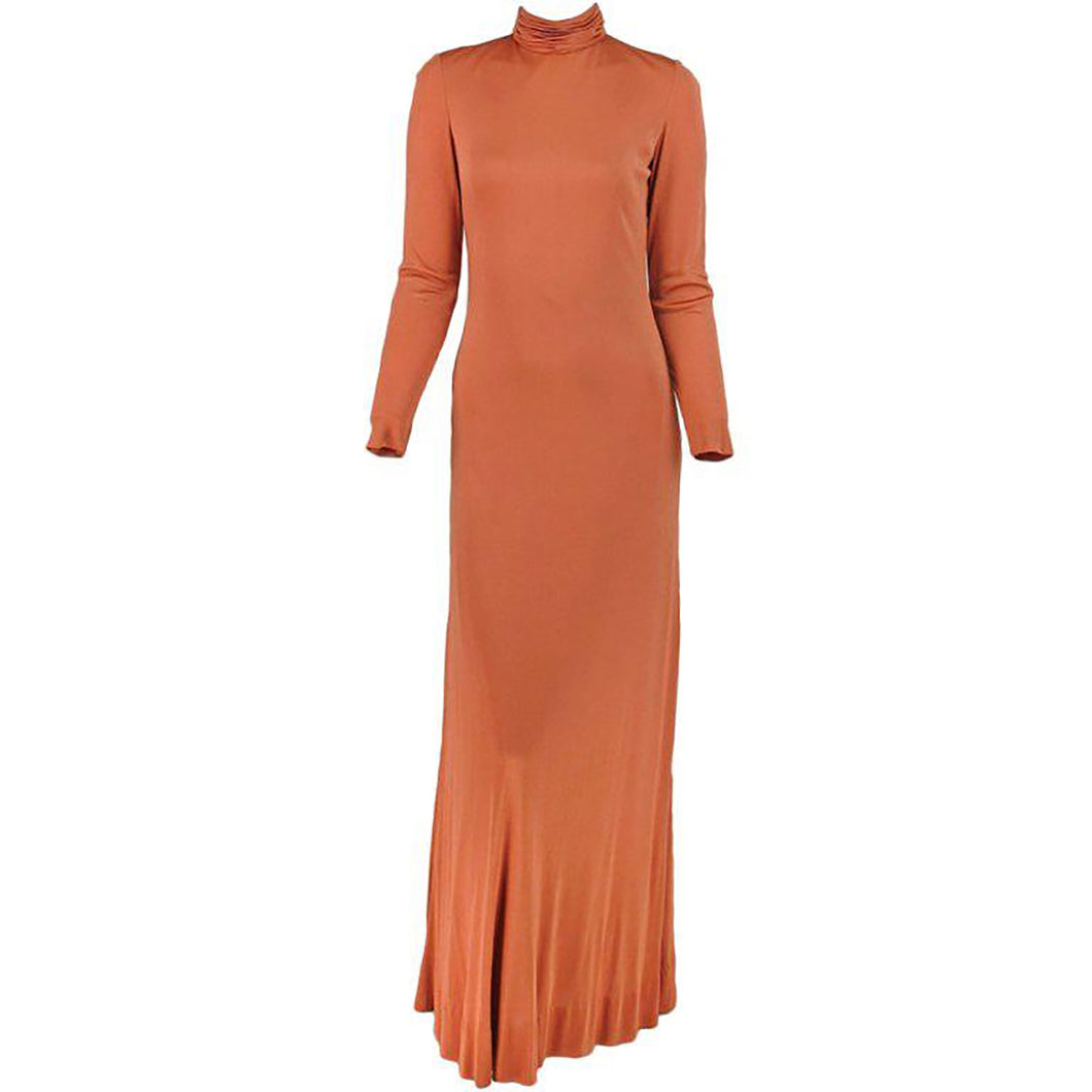 Vintage Christian Dior New York silk jersey maxi dress 1970s