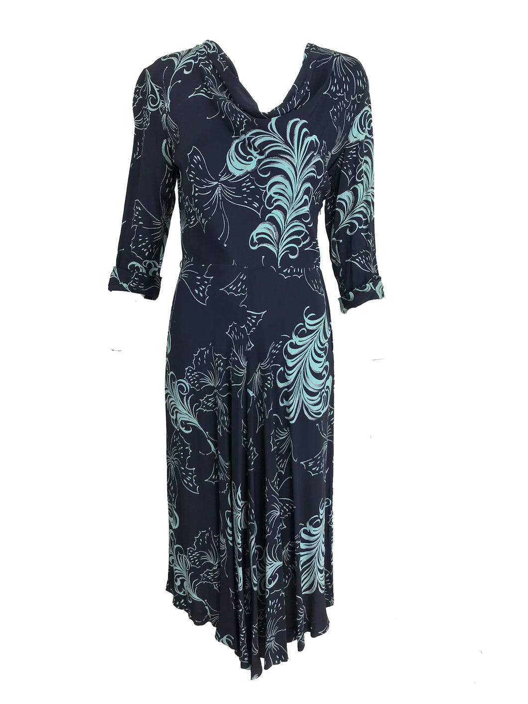 Vintage 1940s Plume and Butterfly Rayon Print Day Dress