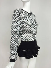 SOLD Christian Dior Black & White Wool Knit Cardigan Sweater With Ruffle hem
