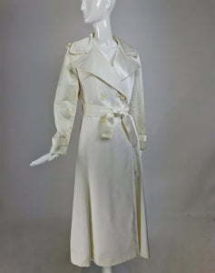 Bill Blass for Bond Street Off White Satin Double Breasted Evening Coat 1970s