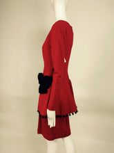 SOLD Isabelle Allard Paris red jersey dress with peplum hip bows & pom poms 1990s