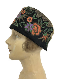 1920s Flapper Cloche Hat with Colorful Embroidery Vintage Palm Beach Vintage