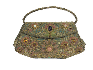 Metallic Jewel Lame Mughal Evening Bag India 1960s