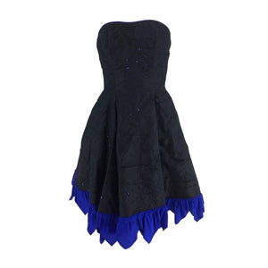Fabrice black silk taffeta blue zigzag hem strapless cocktail dress 1980s