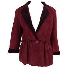 Fendi Burgundy Shearling button Front Jacket