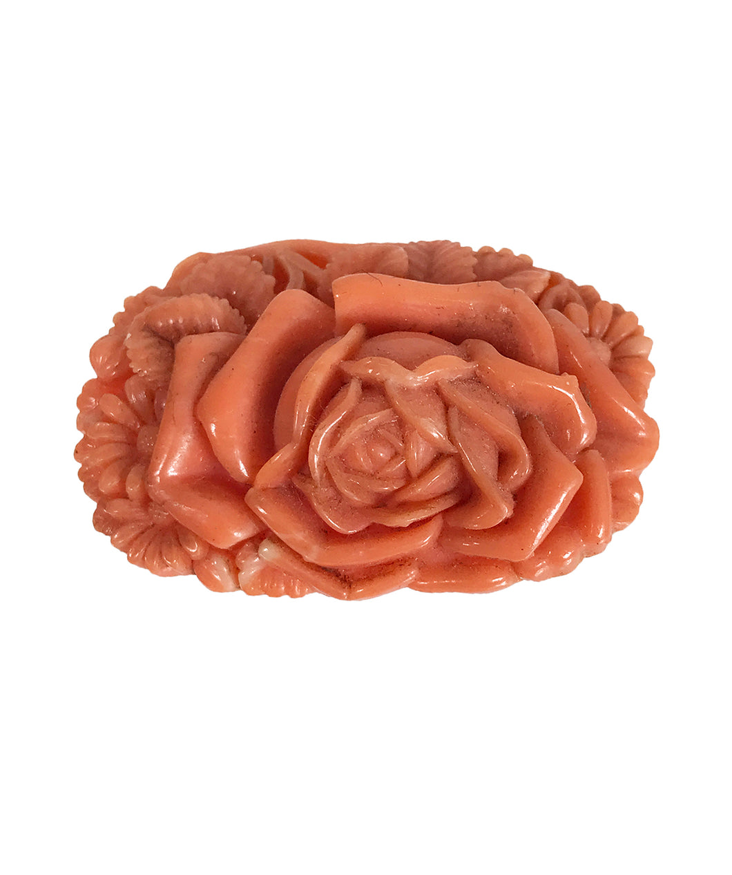 1930s Coral Celluloid Rose Floral Dress Clip