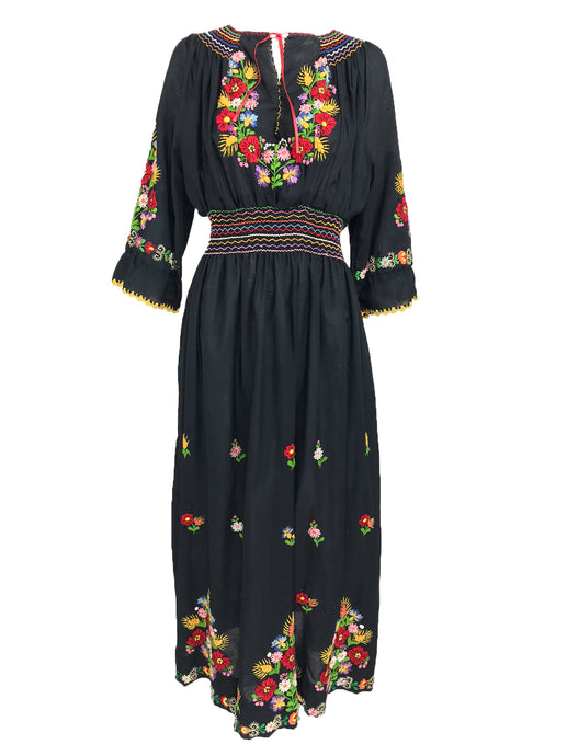 Vintage Hand Embroidered Czechoslovakian Smocked Peasant Dress