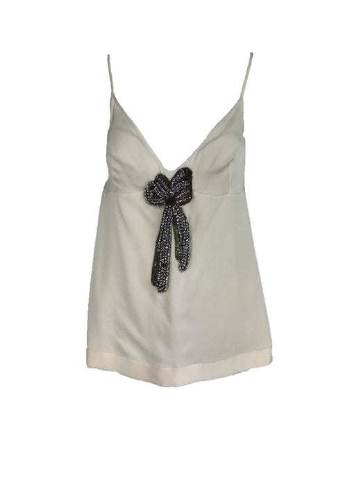 Alexander McQueen Ivory Silk with Rhinestone Bow Camisole Top