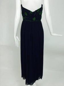 Beaded blue chiffon strapless cocktail dress 1950s