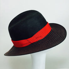 Galanos Matte Black & Red Straw Fedora Hat 1960s NWT