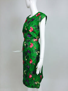 Custom Grass Green Embroidered Silk Organdy Sheath Dress 14