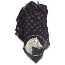 Gucci Large Horse Head Wool Challis Shawl 1990s