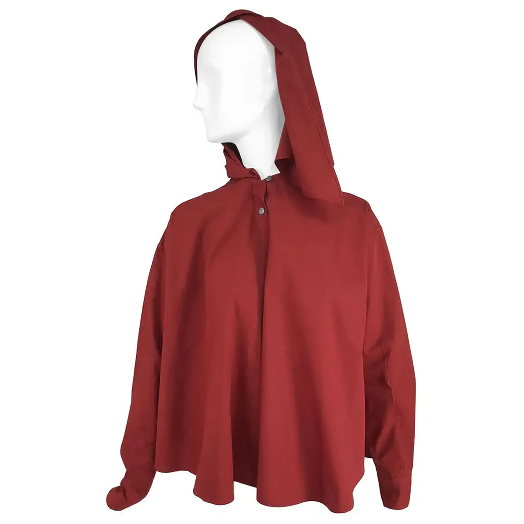 Vintage Romeo Gigli Burgundy Oversize Shirt with Attached Hood Scarf 1980