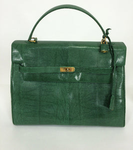 Luc Benoit green glazed lizard Kelly style handbag 1990s