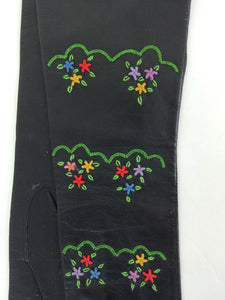 Hand embroidered black leather gloves France  7