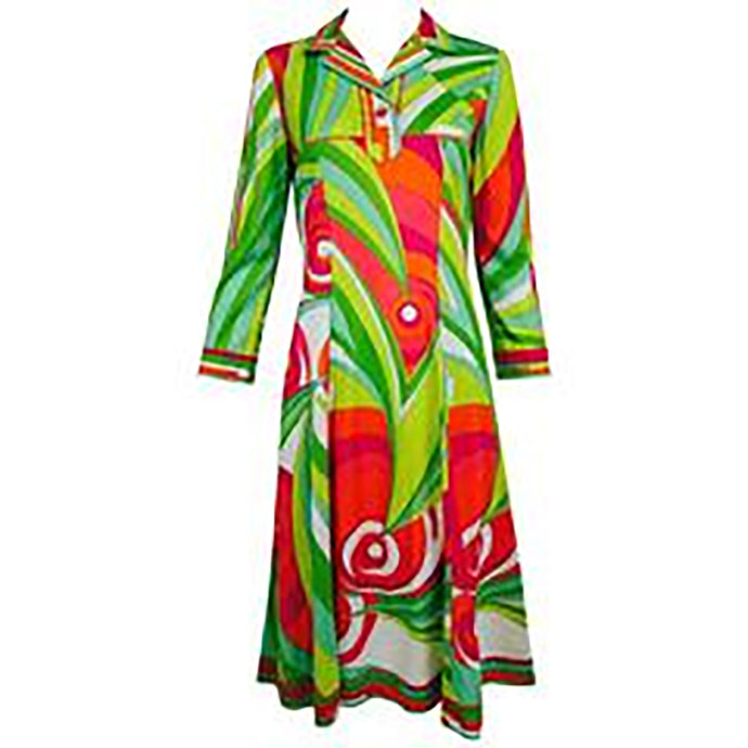 SOLD Vintage Pucci cotton knit bold print fitted placket front dress 1960s 81468df5c