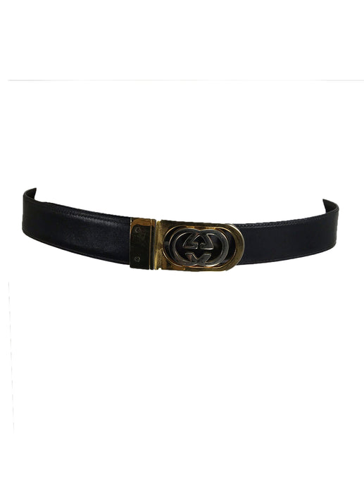 Gucci Gold and Silver Buckle Brown Leather belt