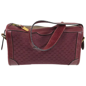 Gucci Vintage Gucci 1970s Burgundy Monogram Canvas & Leather shoulder Bag