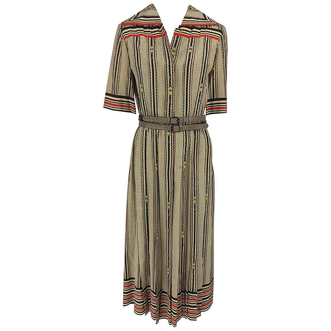 G Gucci Silk Shirtwaist Dress Rare Logo Print 1970s