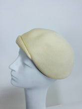 SOLD Halston cream felt 1960s cocktail hat with rhinestone trim