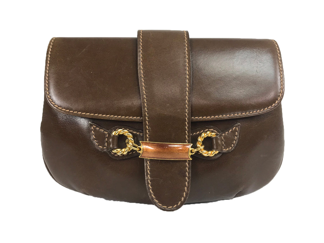 Vintage Gucci Leather flap clutch with Gold and Enamel horsebit closure