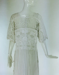 Edwardian Embroidered White Batiste Handmade Lace Dress