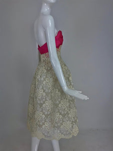 Hattie Carnegie Custom Cream Guipure Lace Pink Silk Strapless Dress 1950s