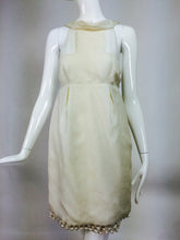 J Mendel ivory silk pearl hem sheer bodice mini dress