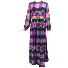 Richard Kaplan Bold Floral Print Chiffon Jewel Maxi Dress 1960s