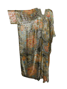 Vintage Lucie Ann Metallic Gold Brocade Full Length Caftan 1970s