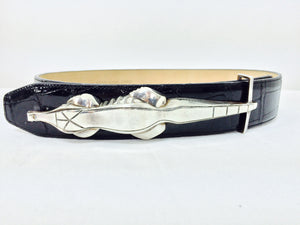 Barry Kieselstein Cord Rare Sterling Silver Alligator Buckle & belt