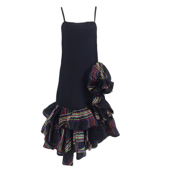 Valentino Black silk taffeta cocktail dress with tiered ruffle hem 1980s